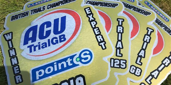ACU Trial GB Championships - Gold plates ready for winners.